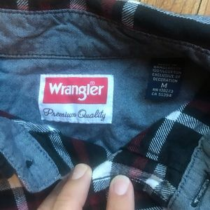 Wrangler black and plaid long sleeve.